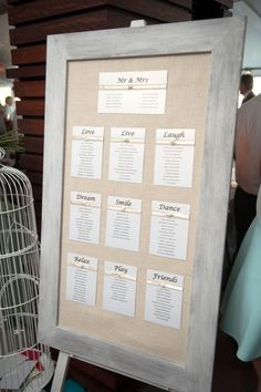 I love this idea (in hand calligraphy of course), because if a change needs to be made to a table you just need to re-do one section.  You can also change the frame and background to complement your event details.