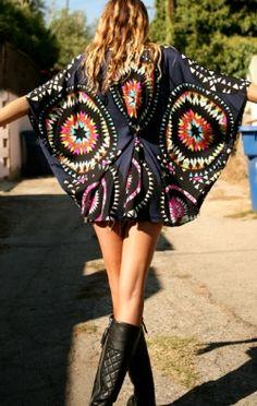 Modern hippie style tie dyed kaftan, gypsy flair. FOLLOW http://www.pinterest.com/happygolicky/the-best-boho-chic-fashion-bohemian-jewelry-gypsy-/ for the BEST Bohemian fashion trends in clothing  jewelry.