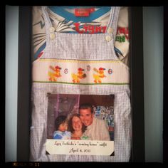 Gotcha day shadow box      Love this idea!! the outfits they were wearing when we got them, their coming home outfits,  the airplane tickets & a pictures