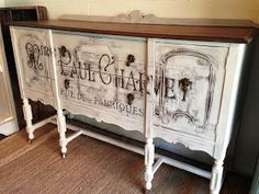 DIY:  Chalk Painted Buffet With Printable Transfer - beautiful buffet is painted & has a Graphics Fairy transfer applied to it. Basic tutorial - awesome outcome!!!