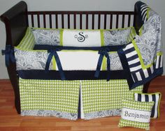 Asher  This custom 3 pc baby crib bedding set includes a luxury plush bumper pad, tailored detail crib skirt, and so soft minky edged and backed blanket.  The navy and white stripe & paisley, green apple houndstooth, navy grosgrain ties, and ultra soft navy and white minky combine softness and textured detail. Top quality and a modern touch for your little angel's nursery.