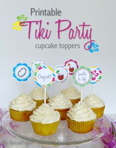 free printable tiki party cupcake toppers