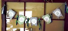 "Seahawks ""hawks"" banner!! Feathers were created with the new feathers framelits in Night of Navy and Gumball Green (r), tassels made from an assortment of green, navy, white, and SU silver ribbons. Created by Jennifer Baughman, Independent Stampin' Up! Demonstrator"