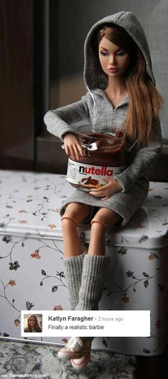 funny barbie, laugh, funny pictures, giggl, funni, realist barbi, humor, yoga pants, nutella