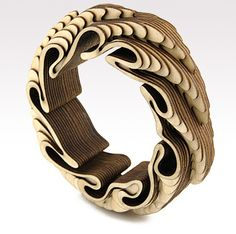 Anthony Roussel bangle made of birch wood