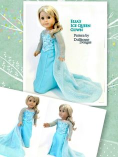 Elsa's Ice Queen Gown by Dollhouse Designs~Sewing Pattern available to make your own Inspired by the movie Frozen http://www.etsy.com/shop/DollhouseDesigns #Americangirl #americangirldoll #frozen #elsa #let it go #americangirl #disney #anna #cosplay #doll