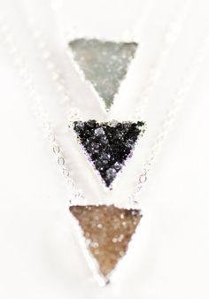 Nalukea necklace silver druzy triangle pendant