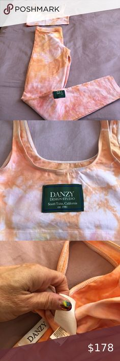 Danzy Sunrise Tie Dye Activewear Set, XS Stunning sunrise tie dye sports bra and matching legging in size XS. Brand new never worn. Hard to find - this matching set is completely sold out. Purchased at Bandier.com Danzy Design Studio Intimates & Sleepwear Sports Bras