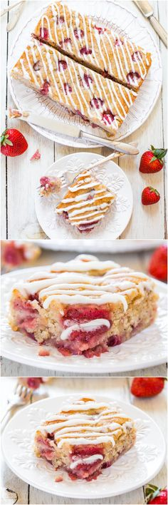 Soft Fluffy Strawberry Banana Cake (vegan) - You'll never miss the eggs or butter in this soft, healthier cake bursting with berries!