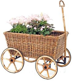 French Country Wicker Garden Cart-antique,farmers,doll,bears,