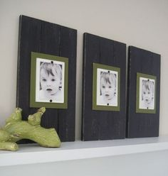 Photo display idea with boards! LOVE.