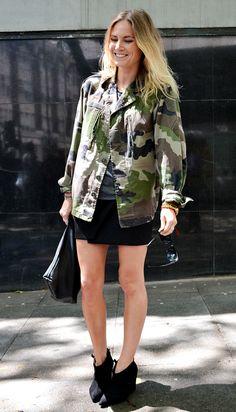 Camo print jacket with mini skirt