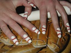 Nails designed to look like baseball! Perfect nail design for an upcoming Syracuse Chiefs game this summer! Baseball Ideas For Nails, Basebal Nails, Nails Art, Awesome Nails, Nails Design, Baseball Nails, Nails Ideas, Baseball Seasons, Basebal Seasons