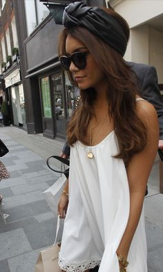 Vanessa Hudgens fashion street casual style white dress simple hair beanie turban boho lol