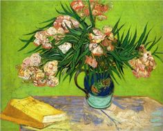 #Oleanders and Books Artist: #Vincent van Gogh Completion Date: 1888 Style: #Post-Impressionism Genre: still life Technique: oil Material: canvas Tags: #books-and-letters, #flowers-and-plants