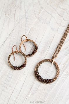 Copper jewelry metalwork garnet earrings by LenaSinelnikArt
