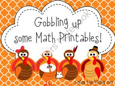 Gobbling up some Math Printables from Color Me Kinder on TeachersNotebook.com (35 pages)  - Math Printables for Fall