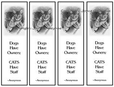 Printable Bookmarks Cats in Pencil Quote About Cats by joyart, $3.00