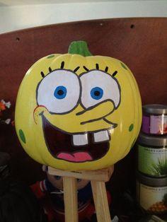 halloween idea, halloween craft, pumpkin paint, spongebob paint, halloween pumpkin