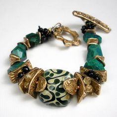Gemstone and Bronze Bracelet A Mixed Metal Beaded by FebraRose, $249.00
