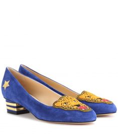 Shop now: Mascot embroidered suede pumps