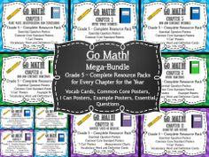 """Looking for a way to make teaching Go Math or any Common Core aligned Math program easier? This bundled resource pack includes everything you need as a teacher to help you cover all your bases. This packet includes the Resource Packet for ALL 11 chapters for fifth grade.  The kit has Common Core posters, """"I Can"""" posters, essential question posters for every, single lesson, example posters, and all the review and new vocabulary cards and definitions for every chapter."""