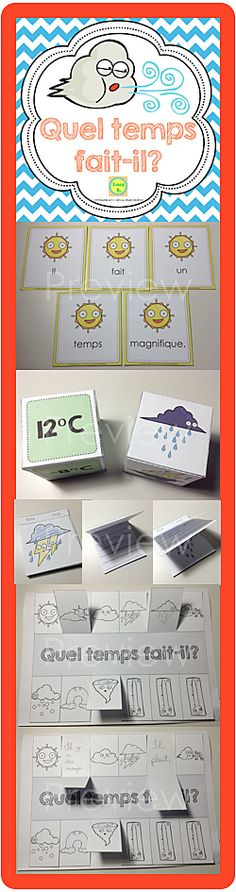 """Quel temps fait-il?"" weather-related word wall and activities, including interactive notebook printables"