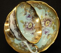 Royal Albert Mauve Flora Baroque Gold Tea Cup and Saucer