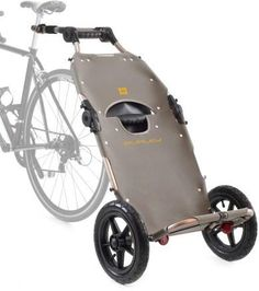 Have this its awesome, use it for more than the bike, take stuff from car to the boat, to picnics in the park, just a great cart  The Burley Travoy is an urban bike trailer system that lets you easily take all your gear with you. Pull the trailer behind your bike and then bring it with you when you arrive!