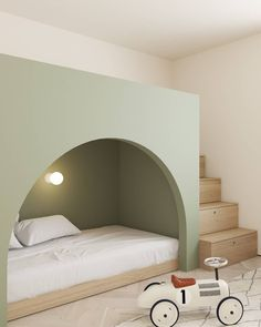KIDS BEDROOM: We take a another peek inside the Copenhagen Apartment by @emildervish. This effortless and light bedroom design may be minimal, but it gives the perfect touch of mystery with its secret-storage stairs and cubby-like bed. Image courtesy of @emildervish