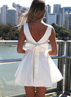 White Sleeveless Mini Dress with Oversized Back Bow,  Dress, bow back  mini dress, Chic