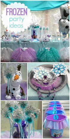 A Frozen girl birthday party with sparkling tutus, paper snowflakes, princess wands and fun games! See more party ideas at www.myprincesspartytogo.com #princessparty #frozenprincessparty