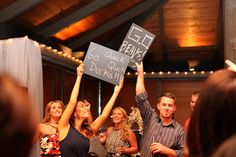 Chalk board messages at wedding reception