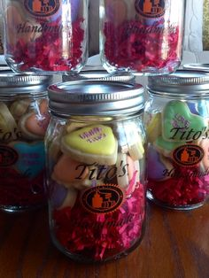 Here'a Valentine's Day gift idea! Custom cookies in a mason jar! Check out these Tito's Handmade Vodka mason jars on our on line store! Set of 4 = $16.00