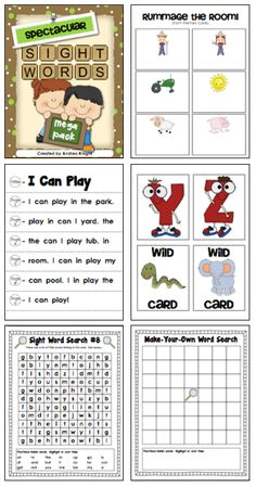 "LINK to item:  http://www.teacherspayteachers.com/Product/Spectacular-Sight-Words-Mega-Pack-432565  The ""Spectacular Sight Words Mega Pack"" includes several games and activities to help primary students learn sight words.  189 pages of sight word fun!  $"