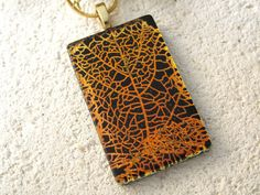 Golden Copper  Leaf Necklace  Dichroic Jewelry  Fused by ccvalenzo, $28.00