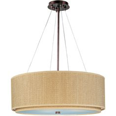 Elements Oil Rubbed Bronze Three-Light Pendant with Grass Cloth Shade