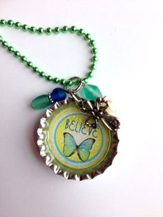 Believe Bottle Cap Necklace with Butterfly by BandsBeadsandBling, $7.50