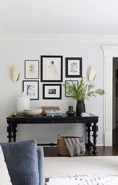 gallery wall above the console table