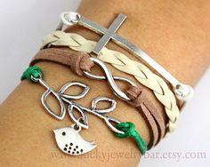 Nature life, cross bracelet, Infinity bracelet, branch and bird bracelet, braid leather bracelet,
