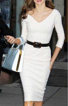 White V-neck Three Quarter Sleeves Figure-hugging OL Dress