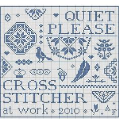 Quiet please Cross Stitcher at work My own design Free pattern