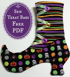 Witches Boots Halloween Treat Bags - Free PDF + Sewing Tutorial from Sharon Sews #sewing