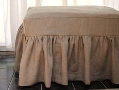 diy ottoman cover, idea, covering furniture with fabric, burlap slipcover, burlap ottoman, linens, skirt ottoman, linen ottoman, gather skirt