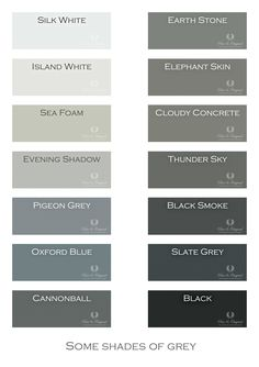 Shades of Grey. Chalk Paint, Lime Paint, Floor Paint and more. note: revere pewter still fav!