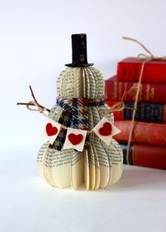 Vintage Book Snowman with HEART BANNER /// Frosty teacher gift VALENTINE /// Made to Order