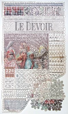 Canadian artist Myriam Dion transforms everyday newspapers into gorgeously patterned hand-cut pages. She uses an X-Acto knife to carve into ...