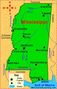 Mississippi: Facts, Map and State Symbols - EnchantedLearning.com
