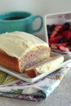 Raspberry Swirl Pound Cake with Cream Cheese Frosting