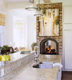 Kitchen Fireplace, two sided from family room to the kitchen would be ideal in dream home. #Better Homes and Gardens Dream Home